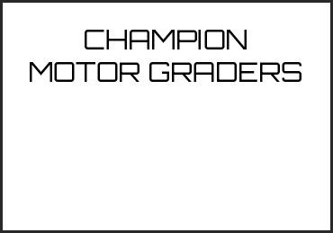 Picture for category CHAMPION MOTOR GRADERS